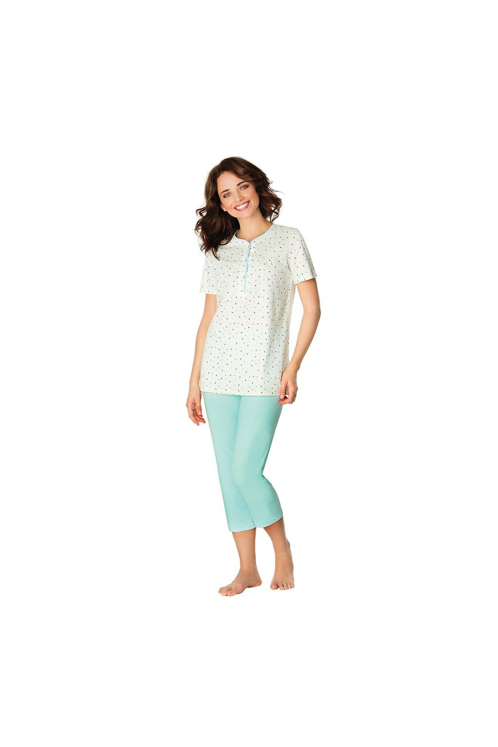 Dámské pyžamo s krátkým rukávem a 3/4 nohavicemi, 104447 921, béžová