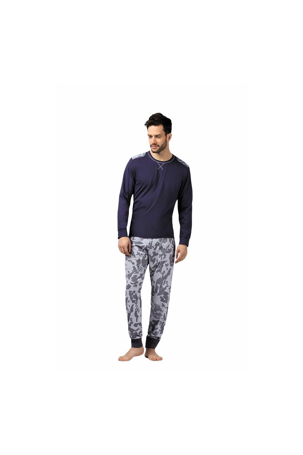 Pánské pyžamo s dlouhým rukávem, 204104 906, hnědá