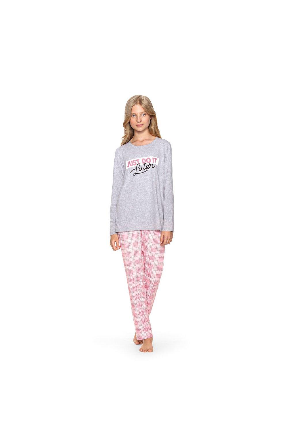 Dívčí pyžamo YOUNG FASHION s dlouhým rukávem, 70477 30, šedá