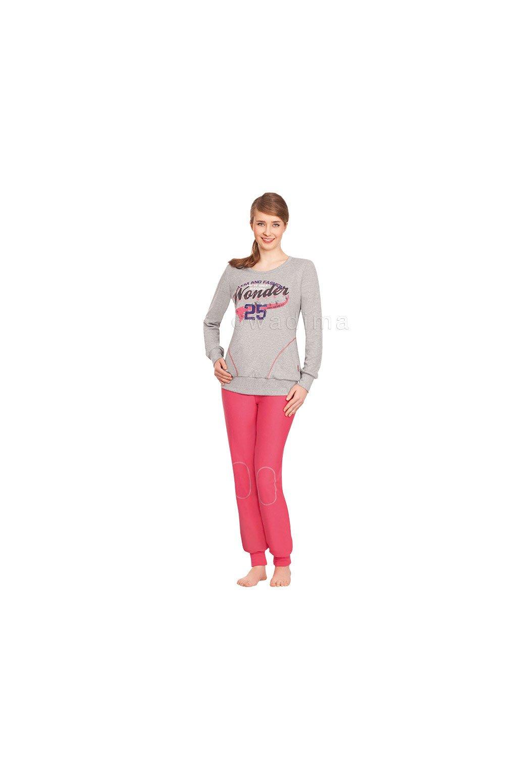 Dívčí pyžamo YOUNG FASHION s dlouhým rukávem, 70440 787, šedá/malinová