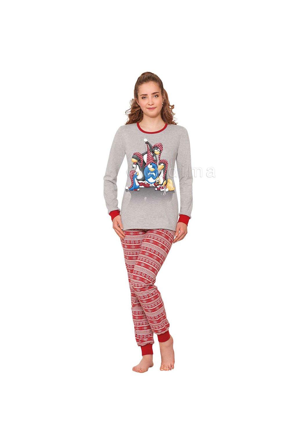 Dívčí pyžamo YOUNG FASHION s dlouhým rukávem, 70449 819, šedá/červená