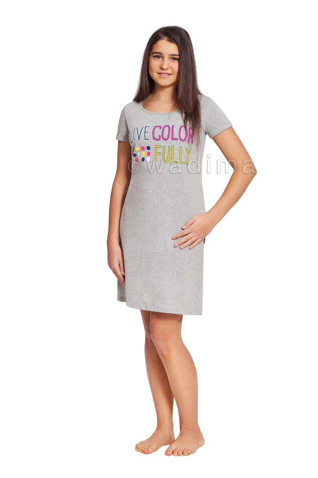 Dívčí noční košile s krátkým rukávem, 70459 36, šedá