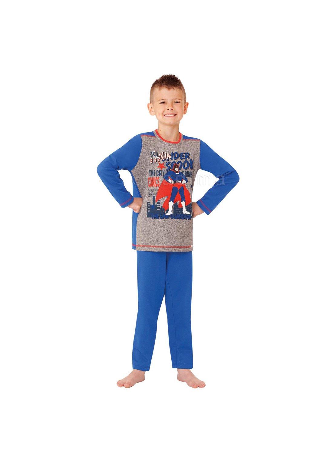 Chlapecké pyžamo s dlouhým rukávem, 50485 875, šedá/modrá