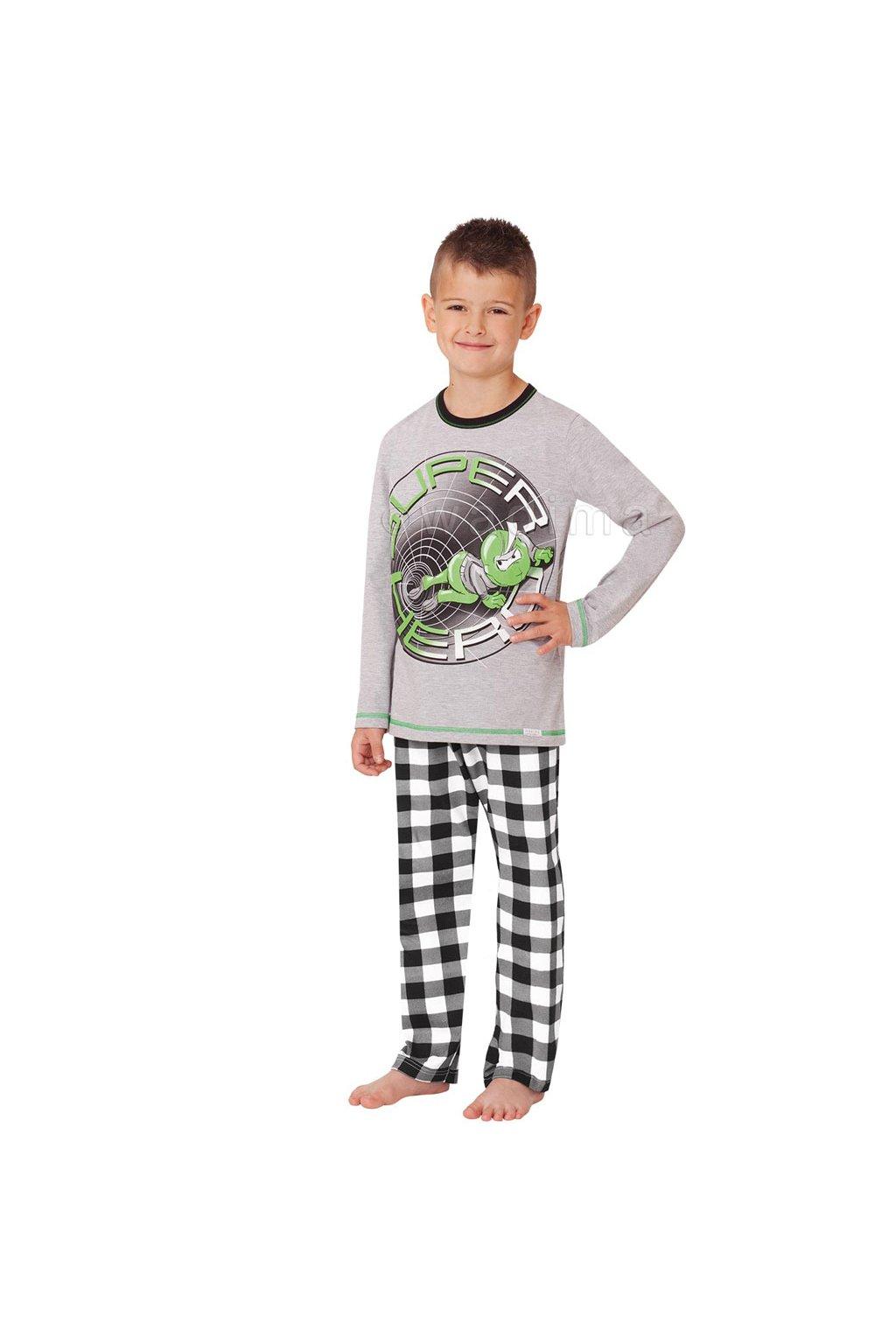 Chlapecké pyžamo s dlouhým rukávem, 50487 638, šedá/černá