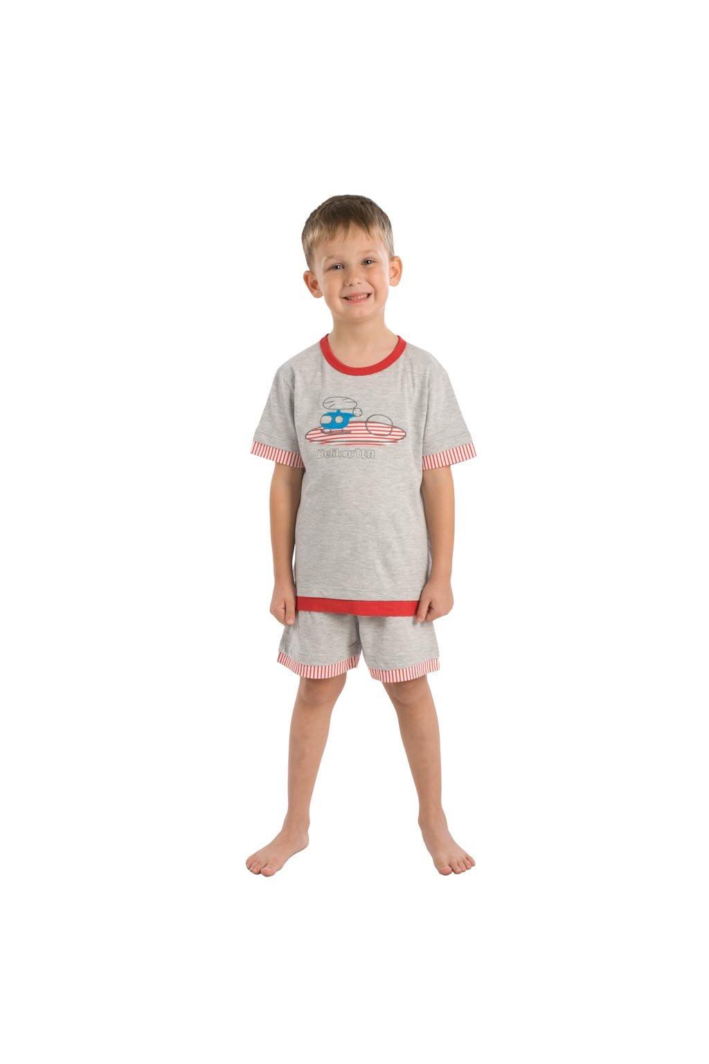 Chlapecké pyžamo s krátkým rukávem, 50415 582, šedá/pomerančová