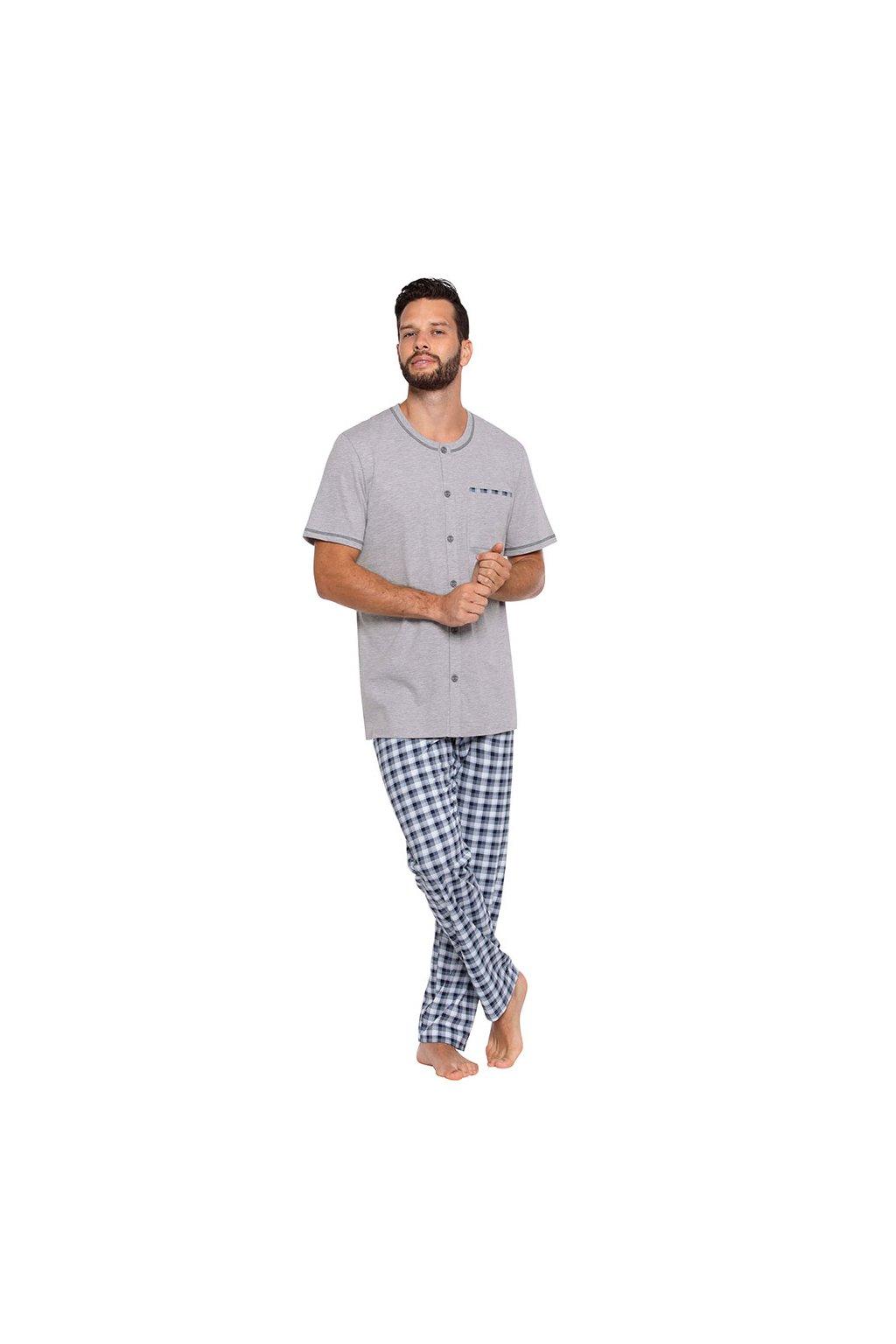 Pánské pyžamo s krátkým rukávem a dlouhými nohavicemi, 204120 30, šedá