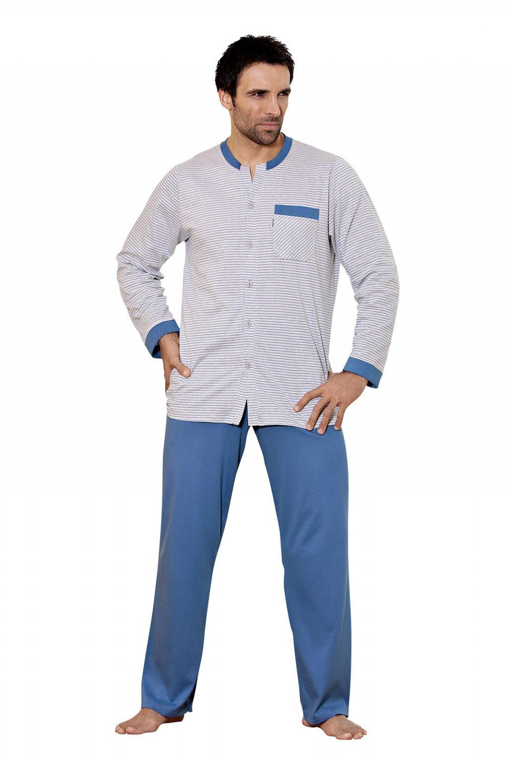 Pánské pyžamo s dlouhým rukávem, 20440 653, šedá