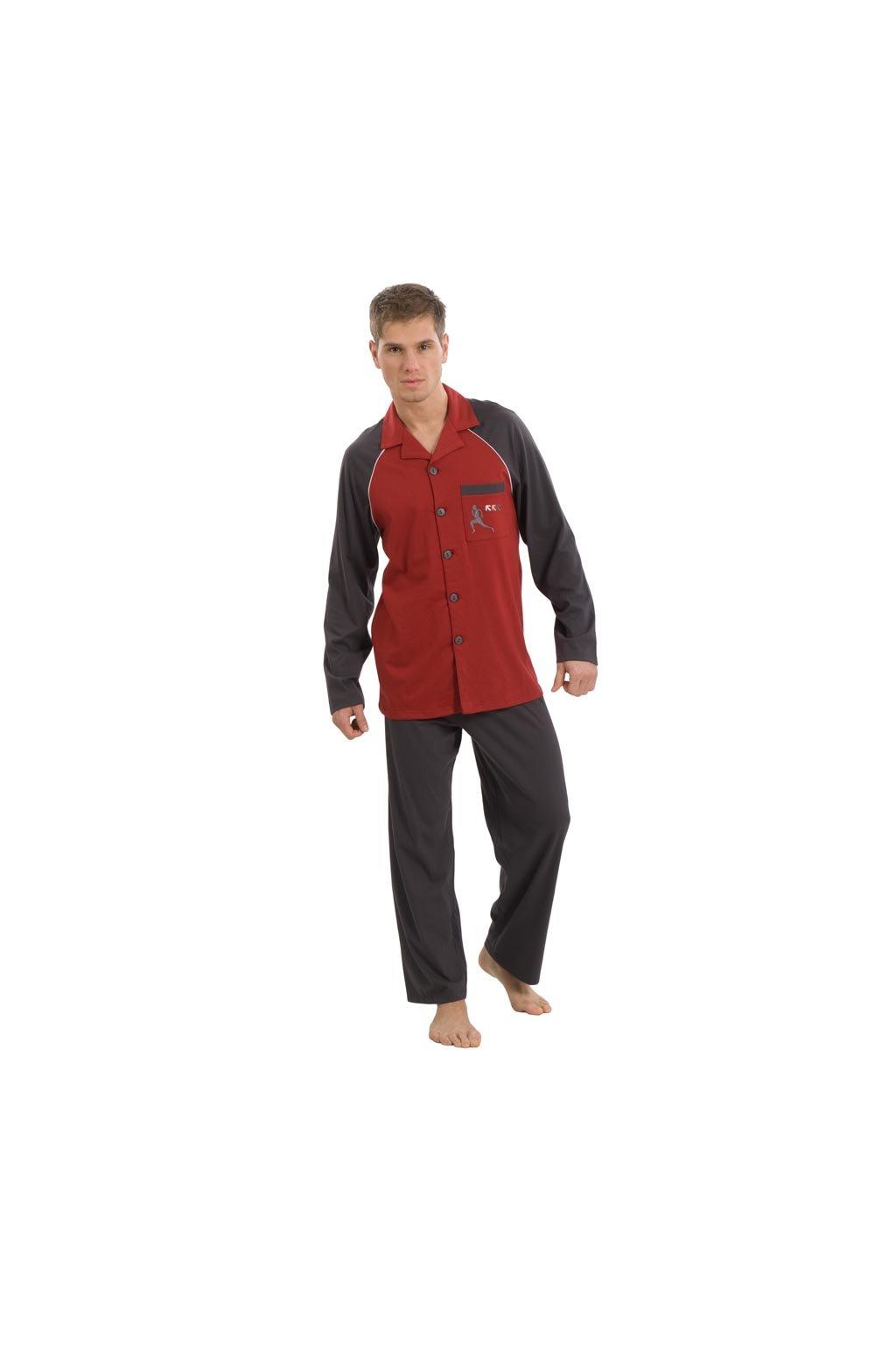 Pánské pyžamo s dlouhým rukávem, 20423 568, šedá