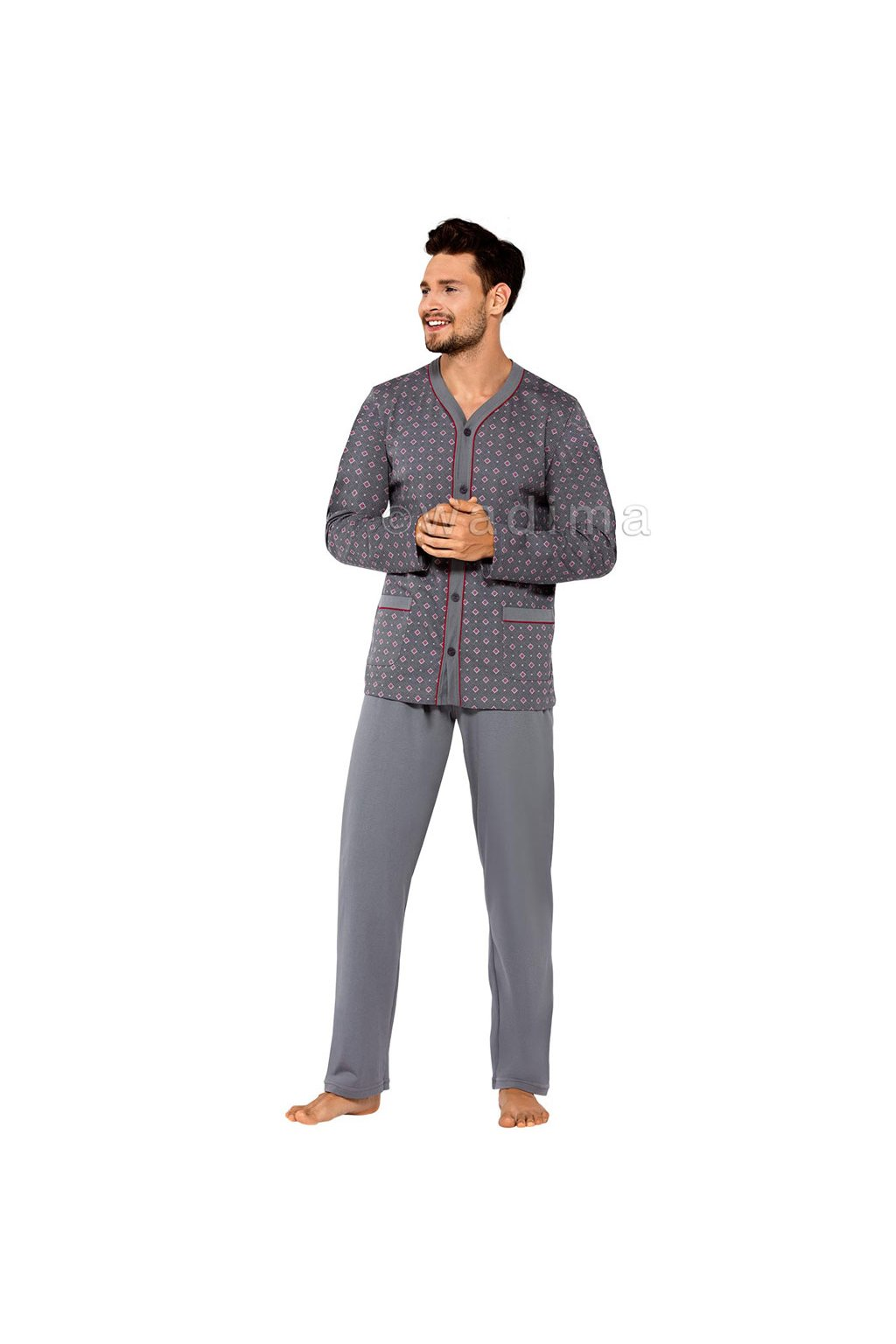 Pánské pyžamo s dlouhým rukávem, 20491 295, grafitová