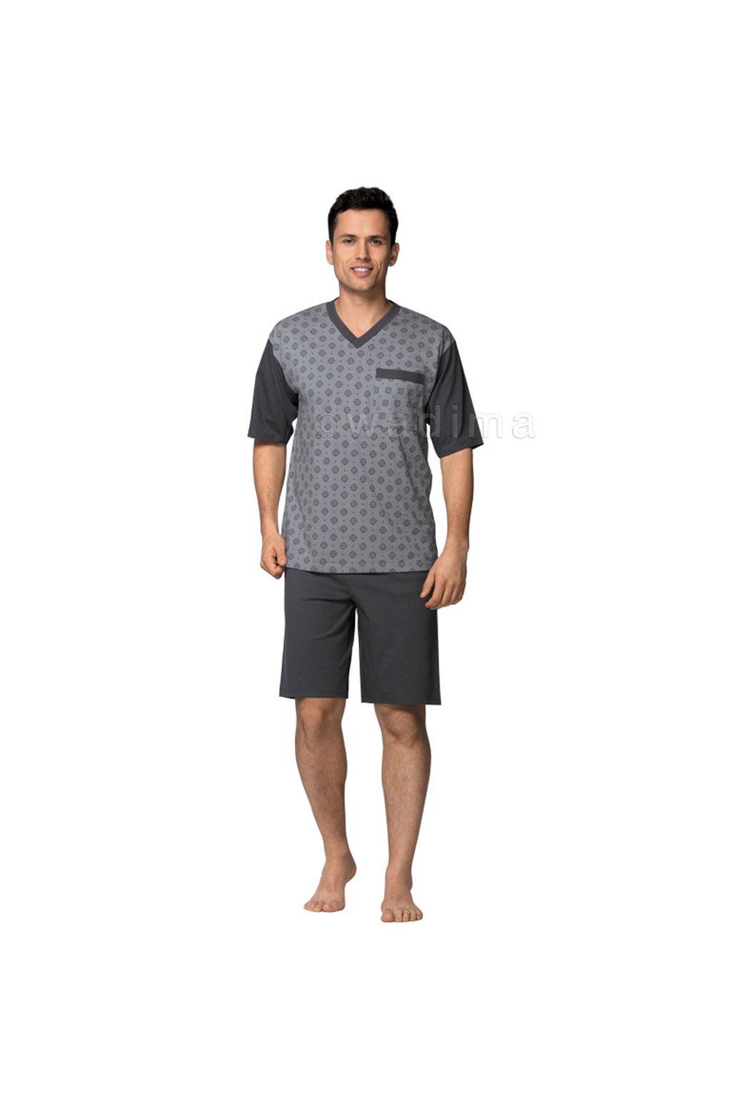Pánské pyžamo s krátkým rukávem, 204ERNESTk 779, šedá