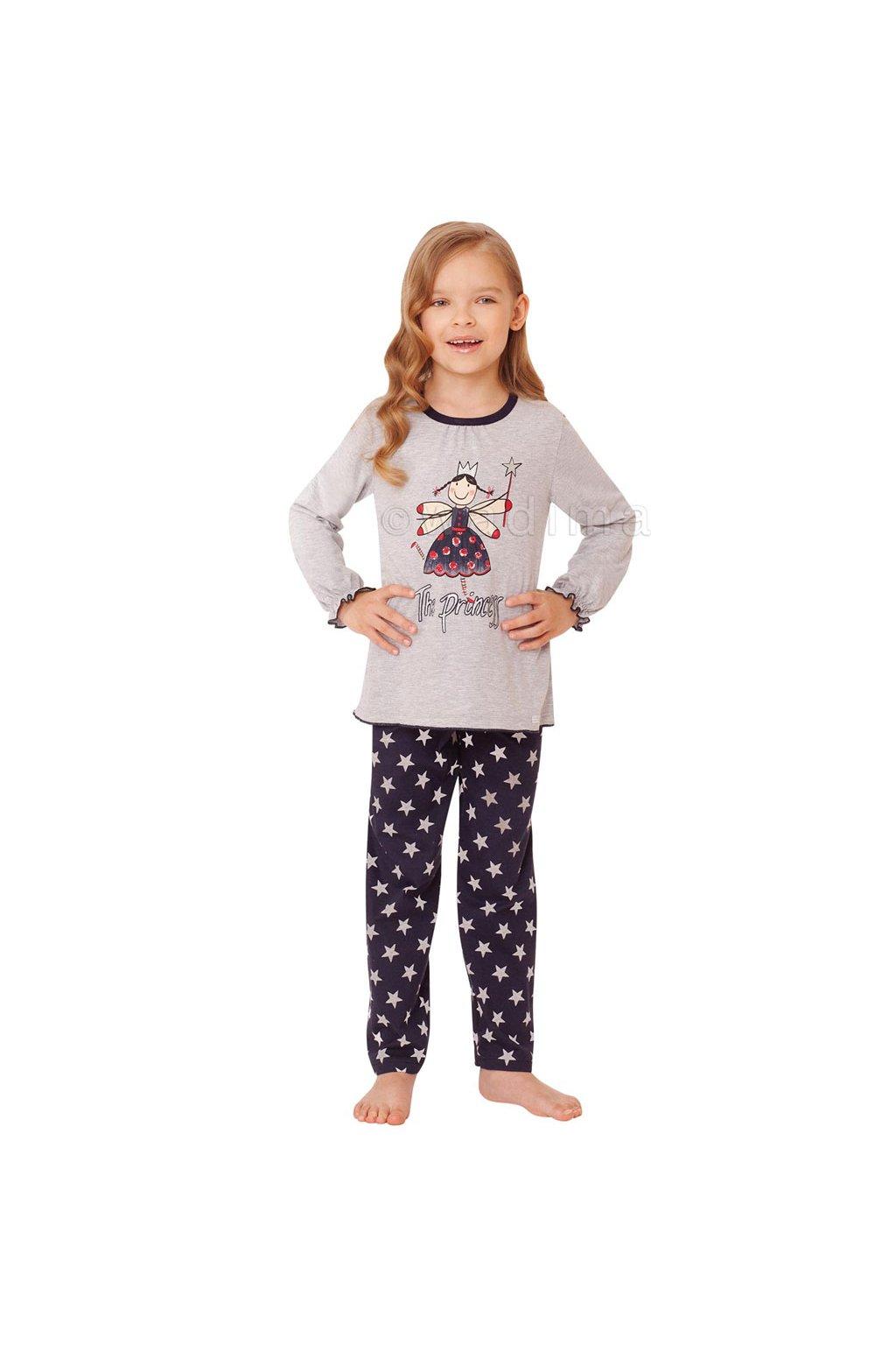 Dívčí pyžamo s dlouhým rukávem, 404129 878, šedá/modrá