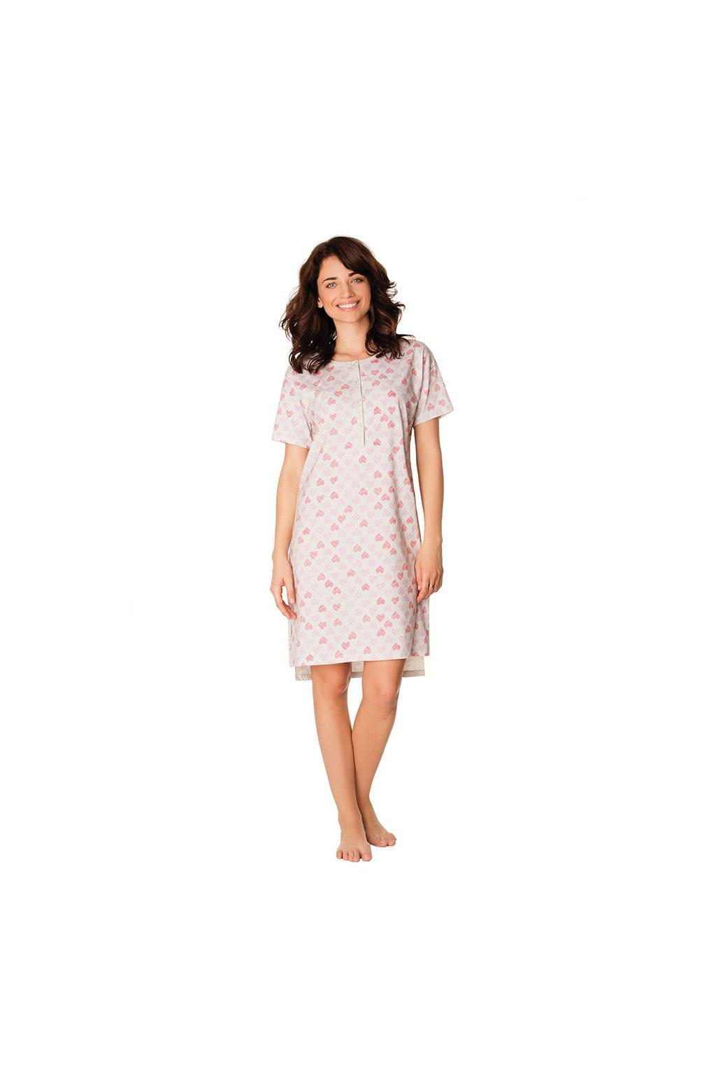 Dámská noční košile s krátkým rukávem, 104444 434, šedý melír