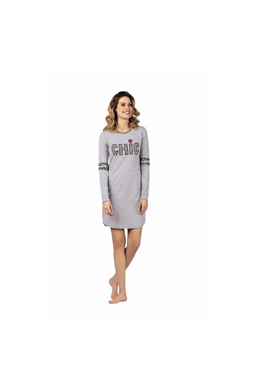 Dámská noční košile s dlouhým rukávem, 104425 30, šedá