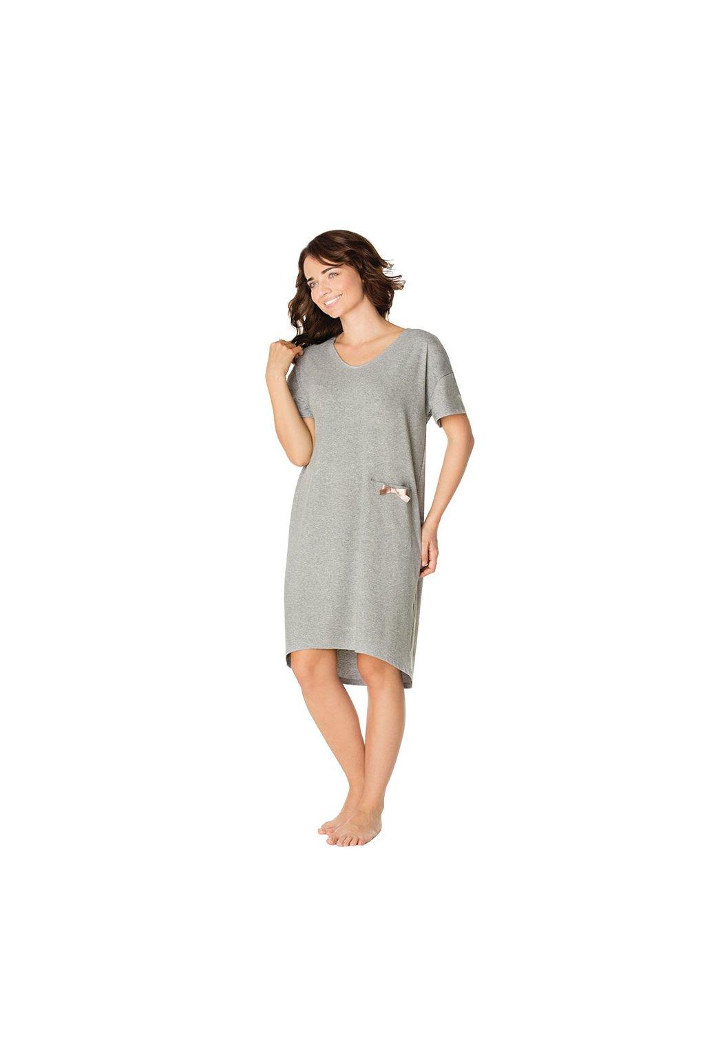 Dámská noční košile s krátkým rukávem, 104437 36, šedá