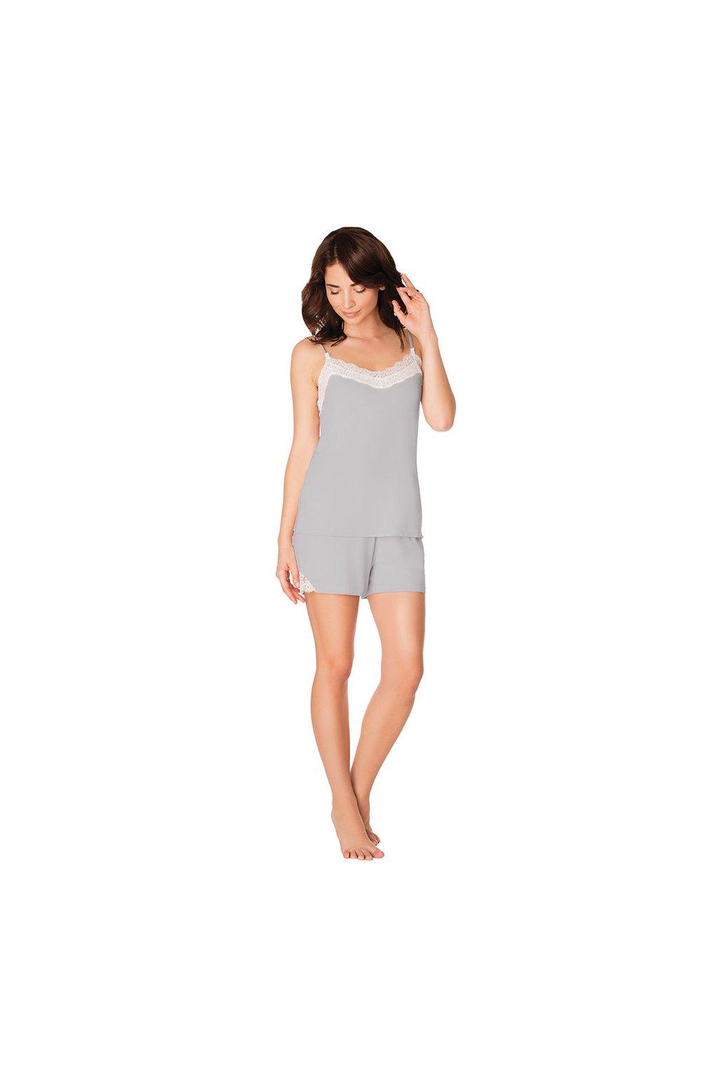 Dámské pyžamo s úzkými ramínky, 104432 271, šedá