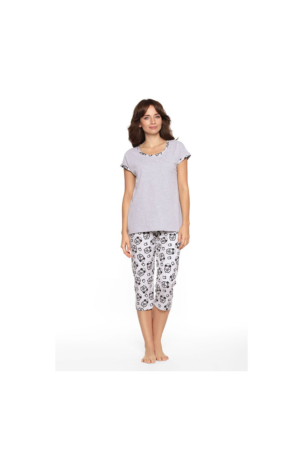 Dámské pyžamo s krátkým rukávem a 3/4 nohavicemi, 104369 30, šedá