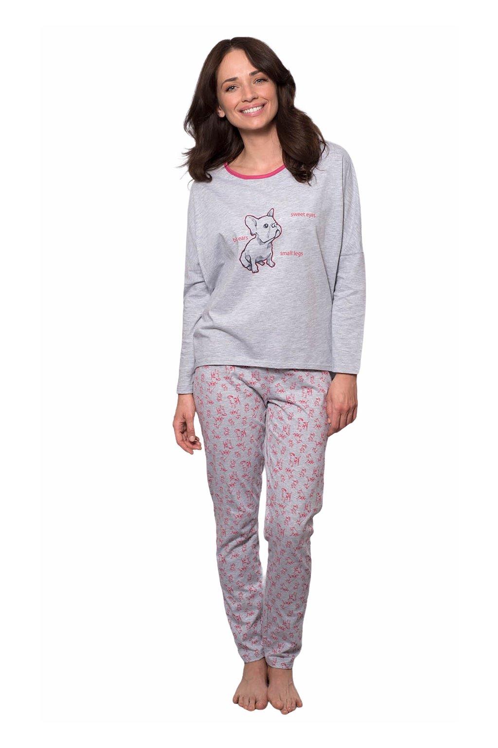 Dámské pyžamo s dlouhým rukávem, 104532 30, šedá