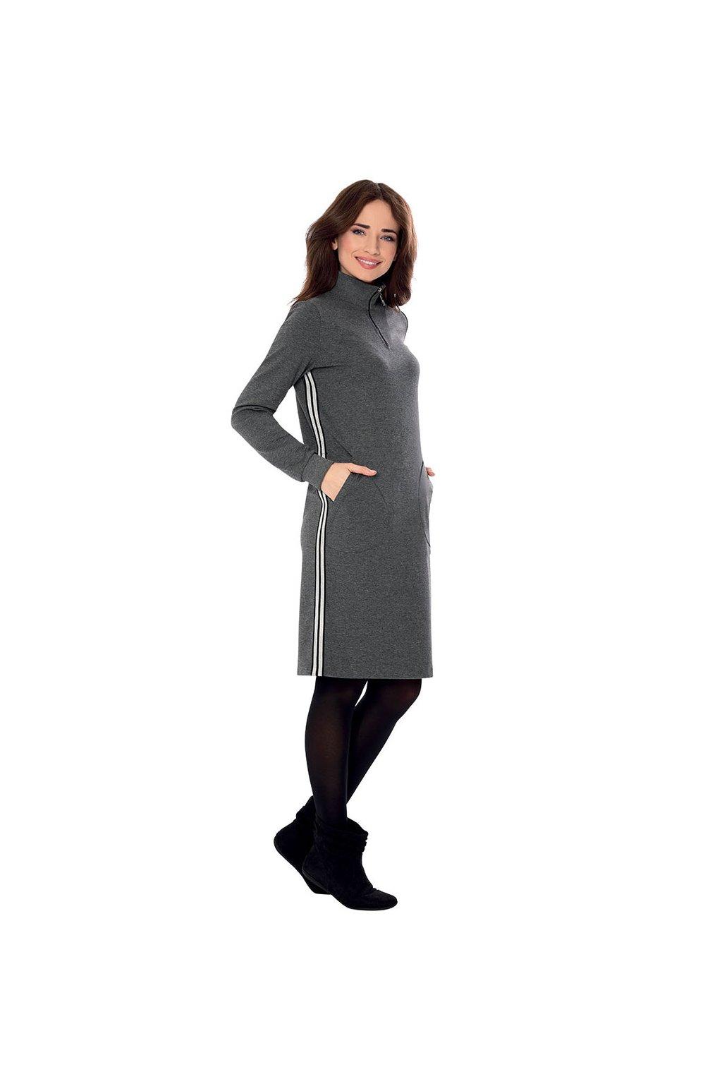 Dámské šaty s dlouhým rukávem, 105112 32, šedá
