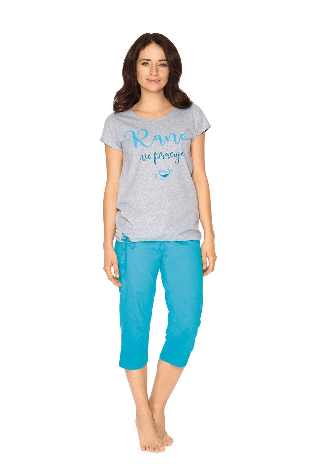 Dámské pyžamo s krátkým rukávem a 3/4 nohavicemi, 104512 30, šedá