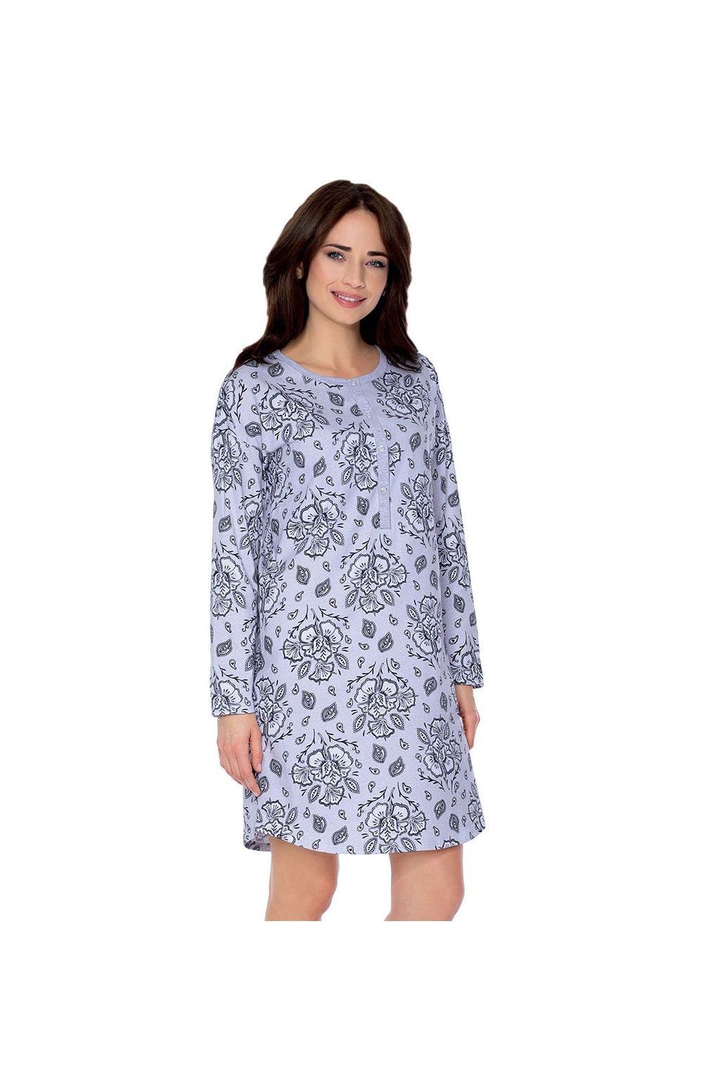Dámská noční košile s dlouhým rukávem, 104499 30, šedá