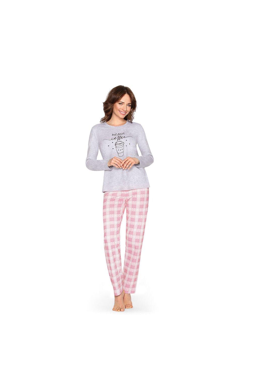 Dámské pyžamo s dlouhým rukávem, 104461 30, šedá