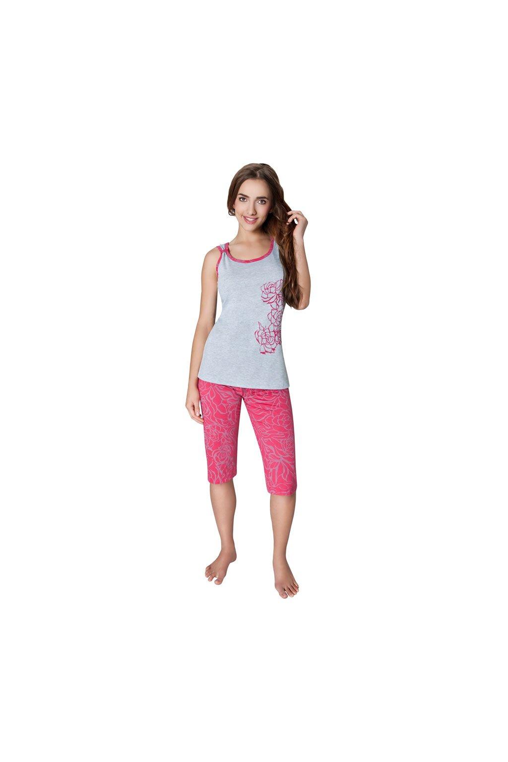 Dámské pyžamo se širokými ramínky, 104222 714, šedá/růžová