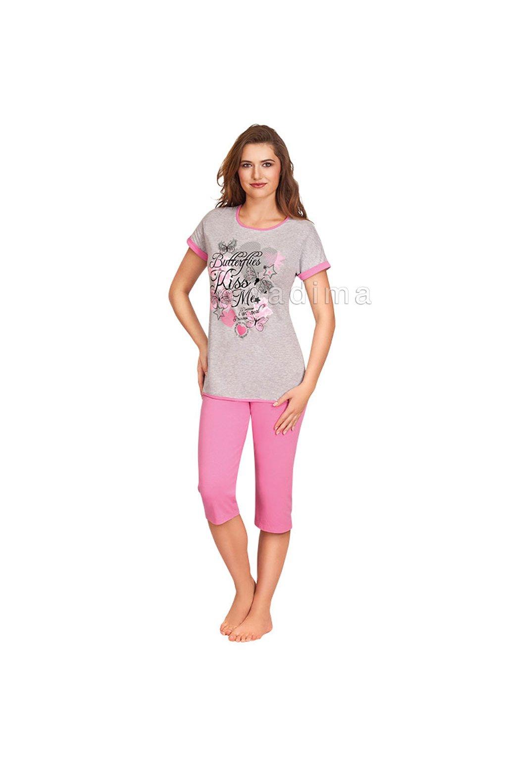 Dámské pyžamo s krátkým rukávem a 3/4 nohavicemi, 104301 799, šedá/růžová