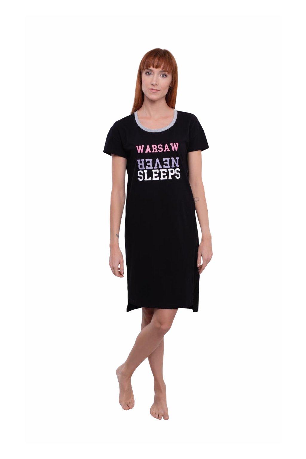 Dámská noční košile s krátkým rukávem, 104554 29, černá
