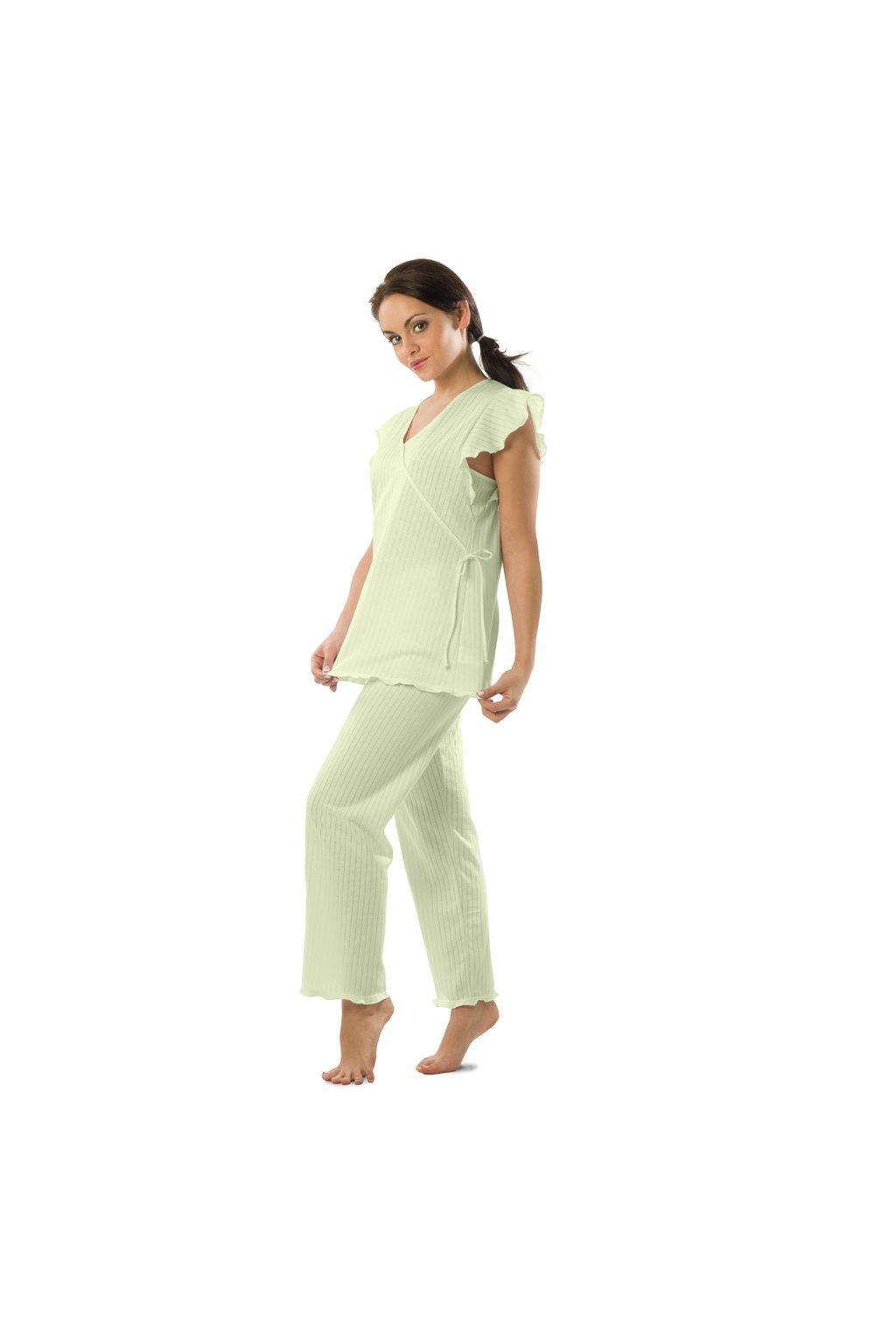 Dámské pyžamo s krátkým rukávem a dlouhými nohavicemi, 104120 115, lososová