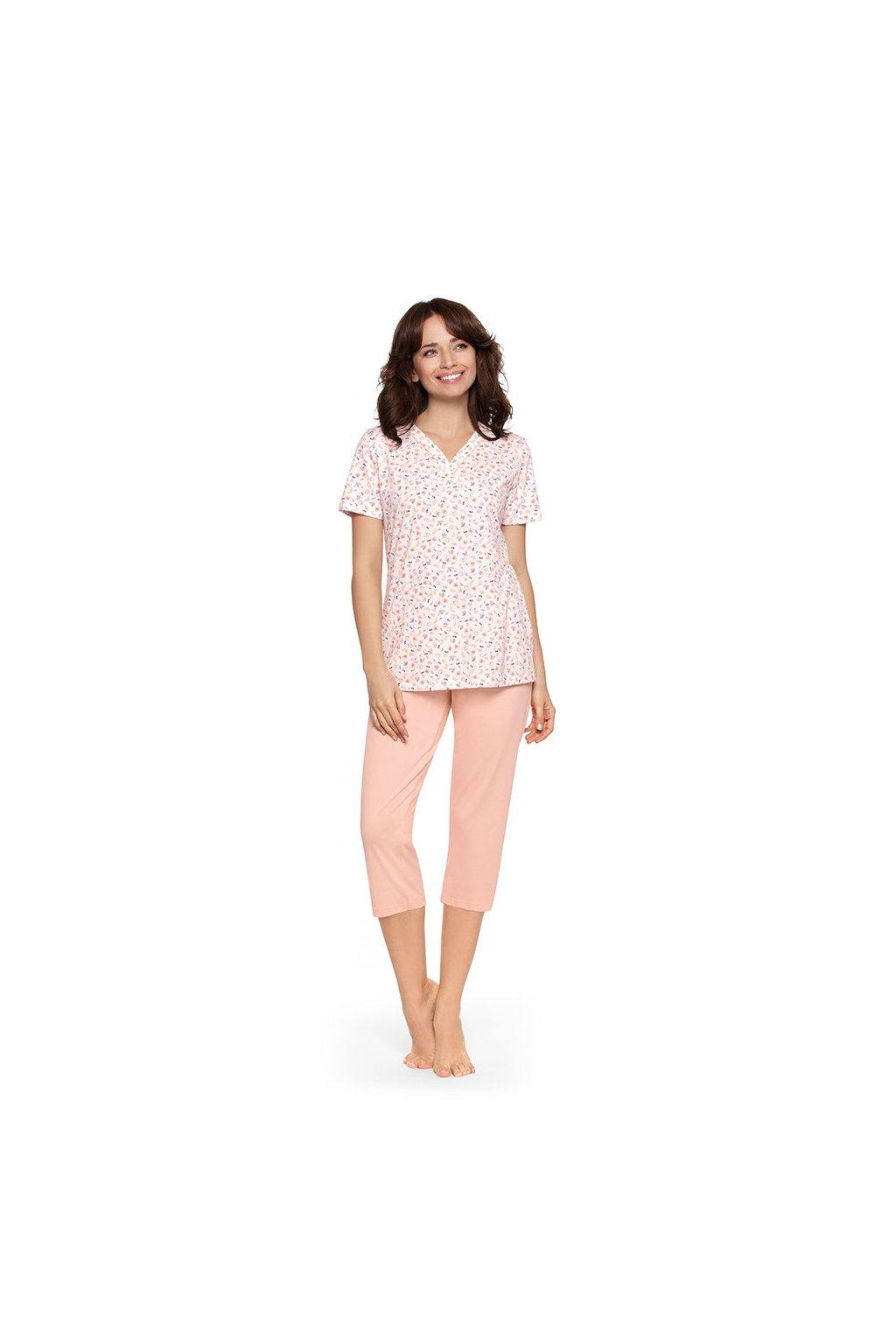 Dámské pyžamo s krátkým rukávem a 3/4 nohavicemi, 104482 6, meruňková