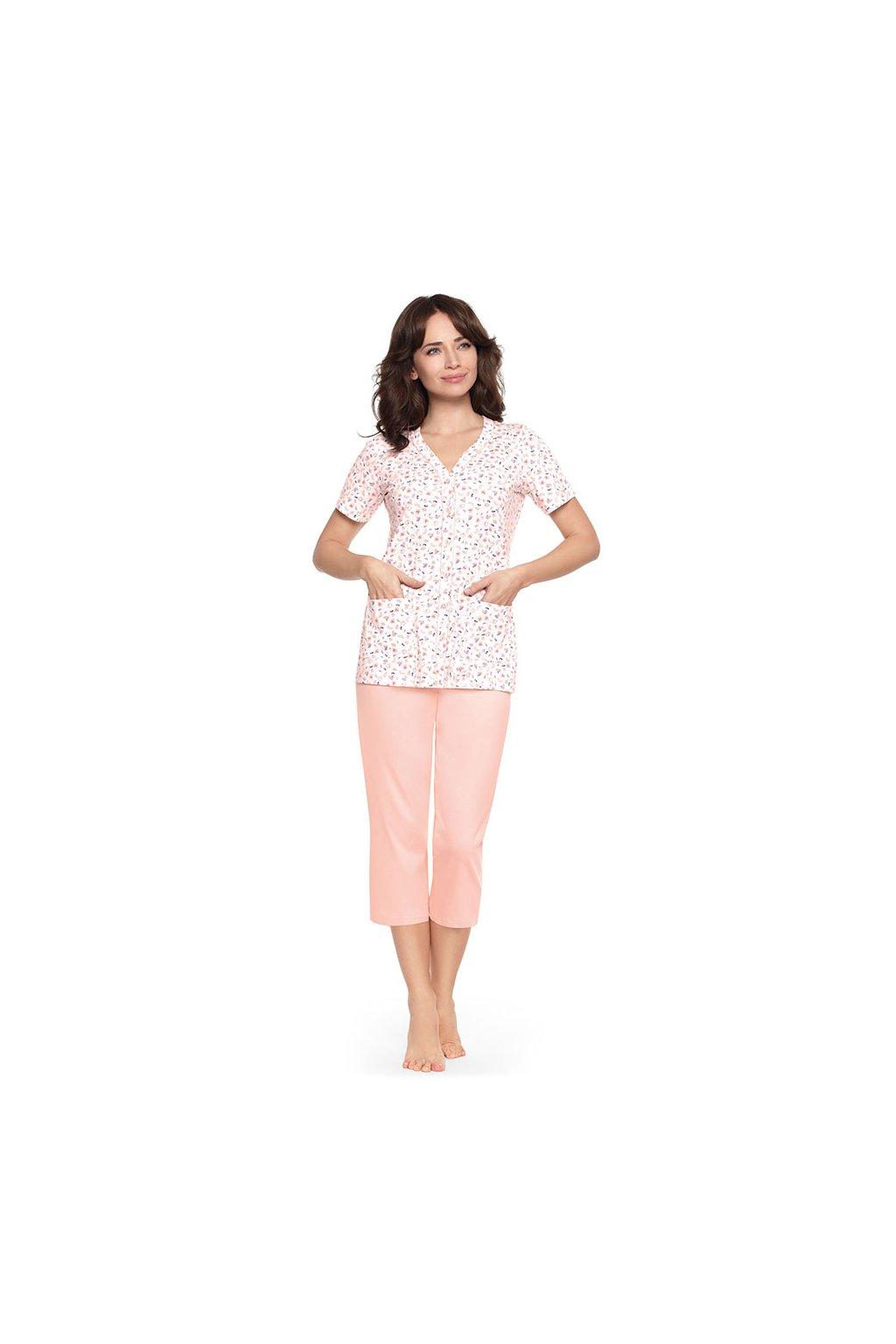 Dámské pyžamo s krátkým rukávem a 3/4 nohavicemi, 104483 6, meruňková