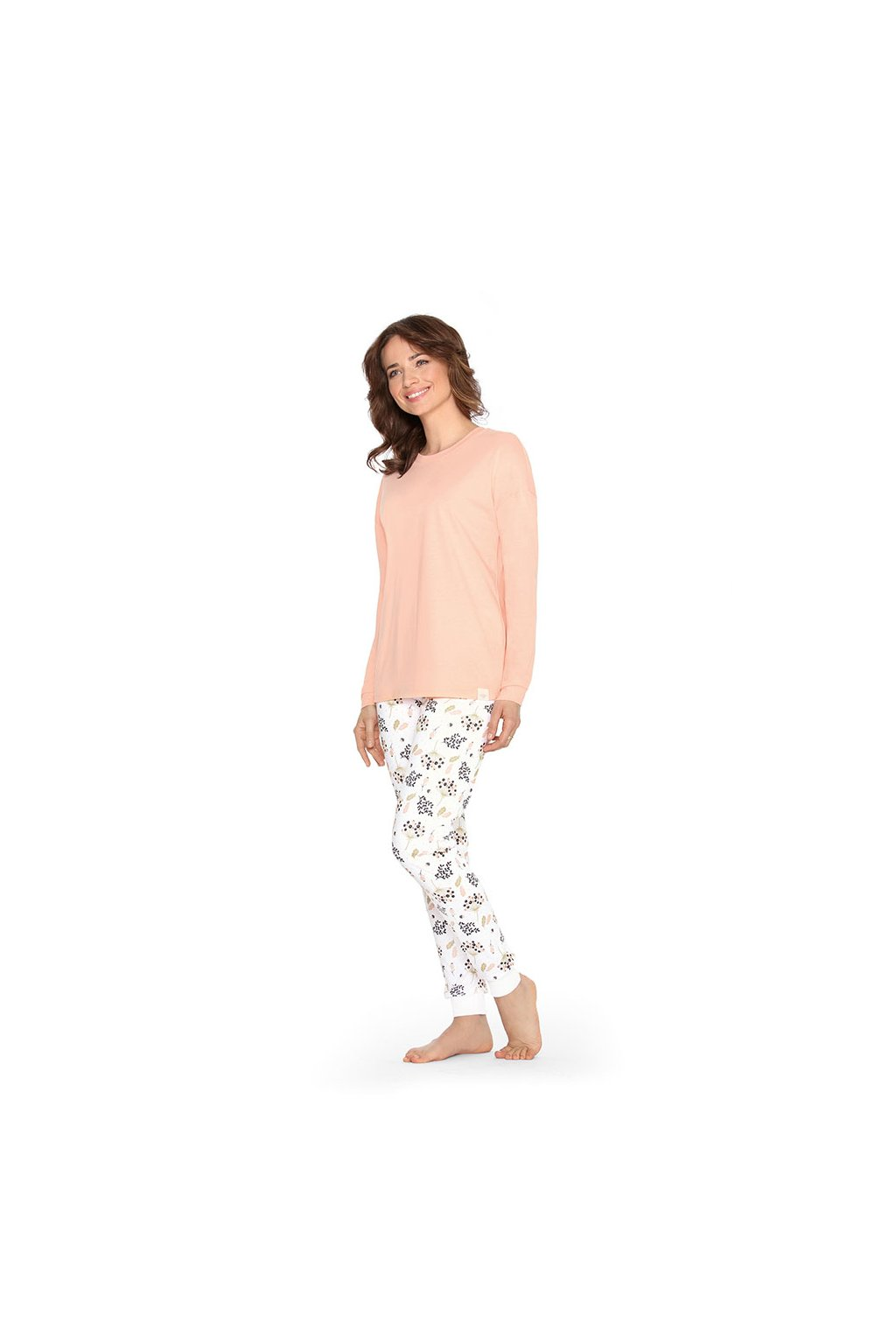 Dámské pyžamo s dlouhým rukávem, 104459 6, meruňková