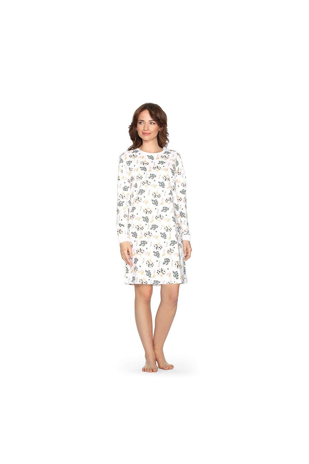 Dámská noční košile s dlouhým rukávem, 104460 6, meruňková