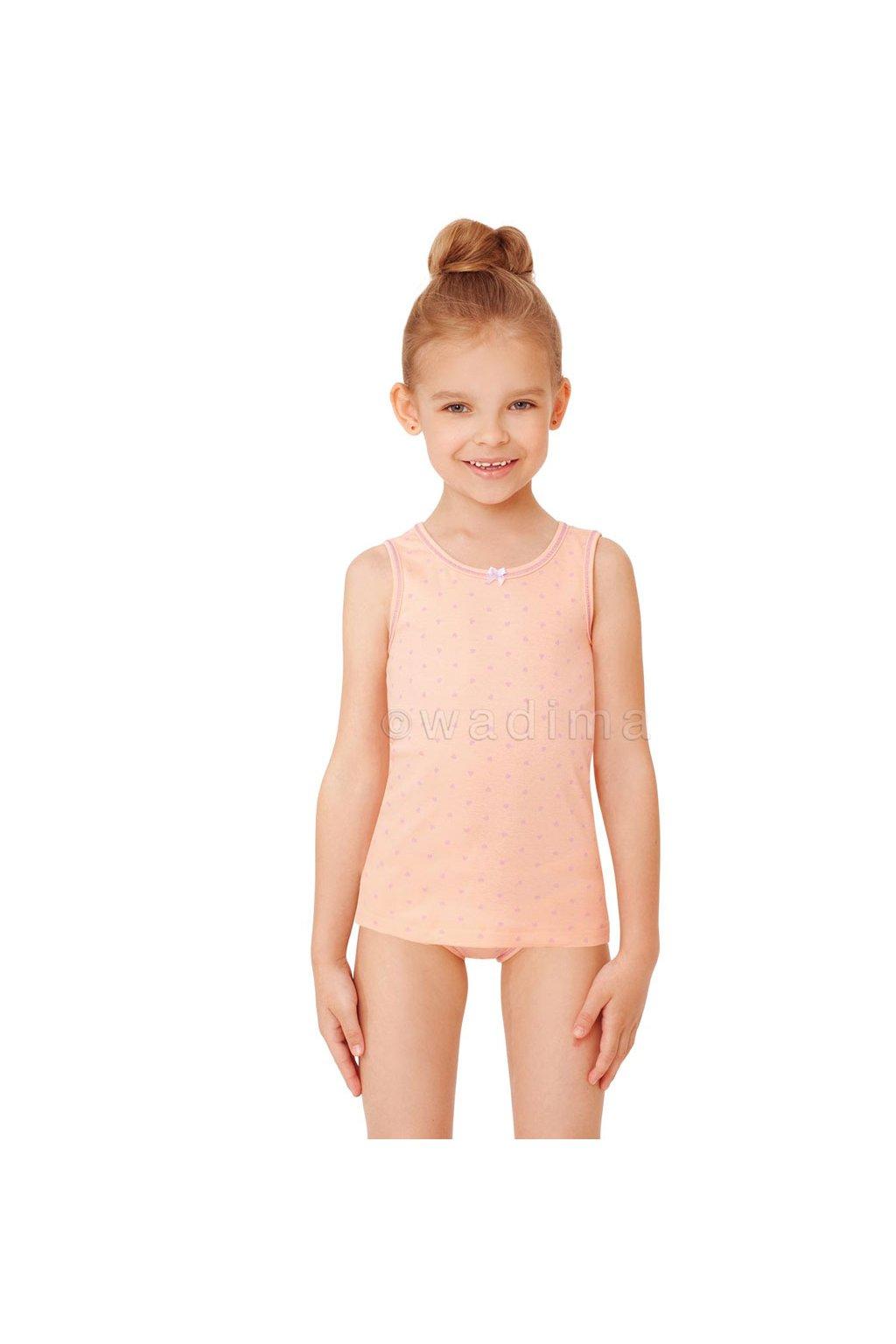 Dívčí košilka se širokými ramínky, 40250 6, meruňková