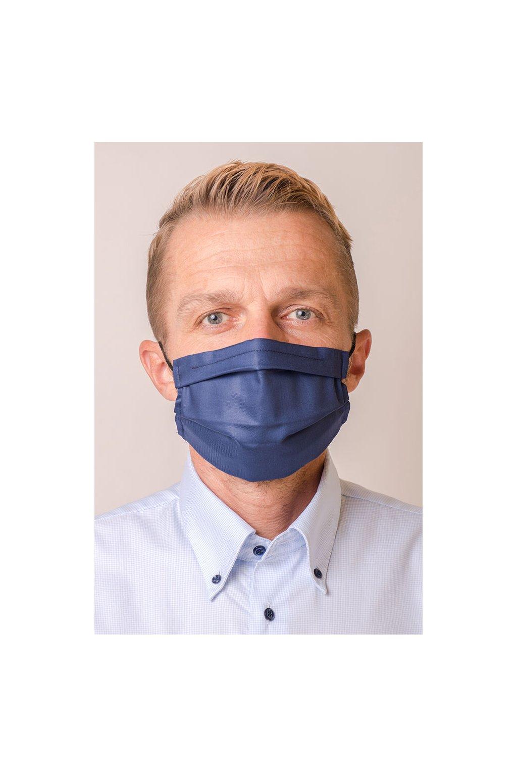 Pánská bavlněná rouška dvouvrstvá s kapsou a tvarovacím drátkem, antibakteriální SILVER+, 770-31, Modrá