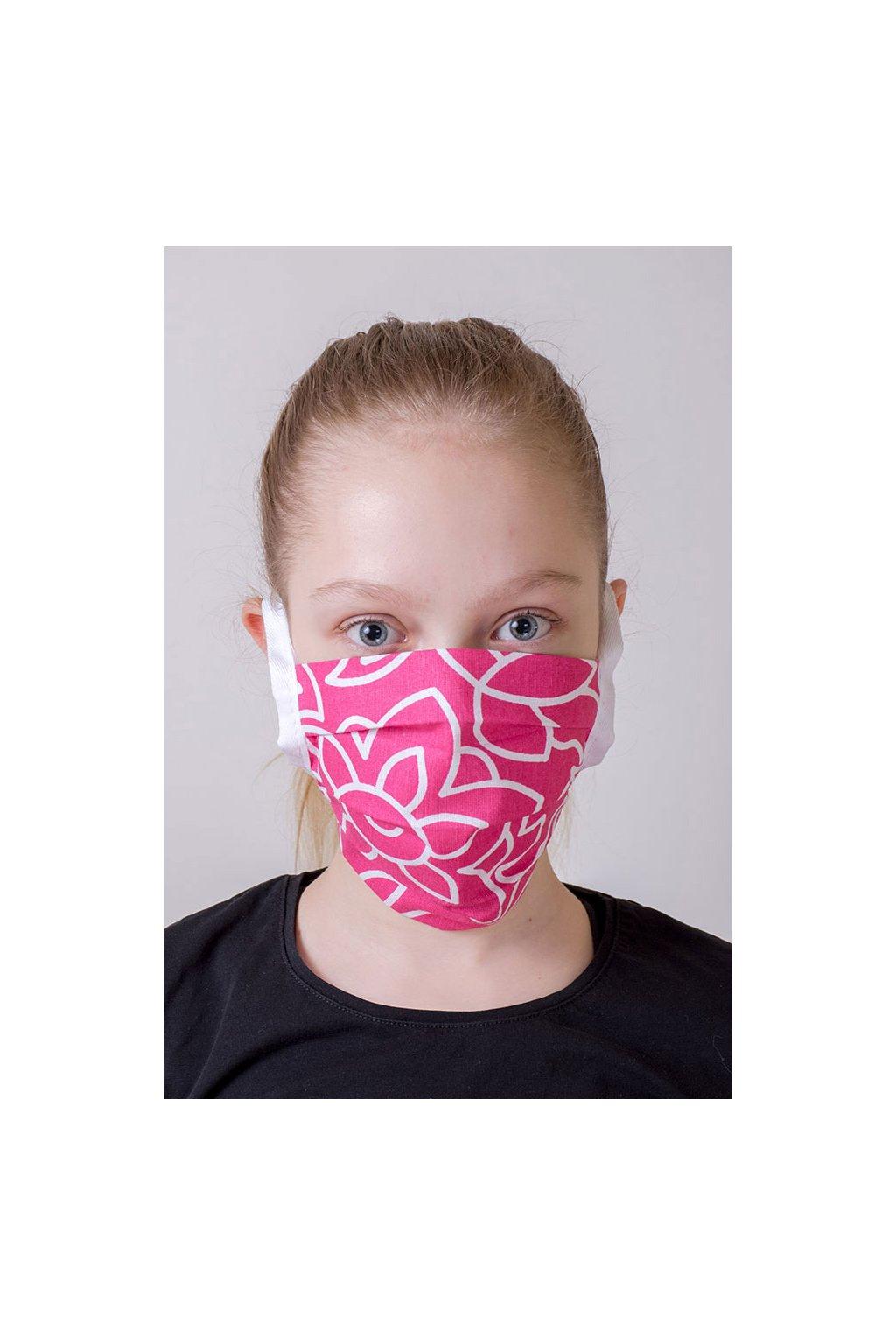 Dětská bavlněná rouška na ústa a nos dvouvrstvá skládaná s kapsou, šňůry z keprové stuhy, 787-149, Růžová