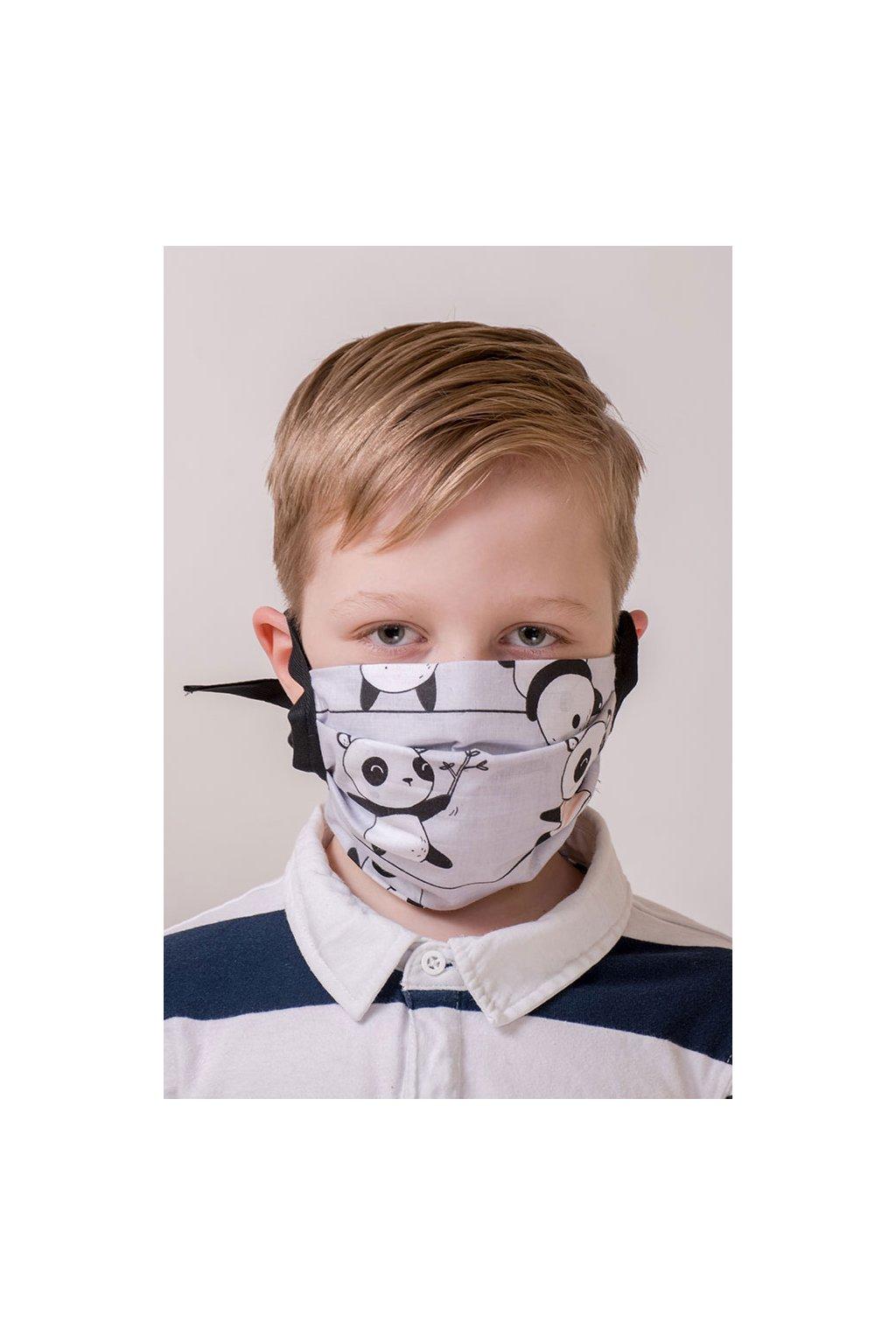 Dětská bavlněná rouška na ústa a nos dvouvrstvá skládaná s kapsou, šňůry z keprové stuhy, 787-207, Šedá/panda