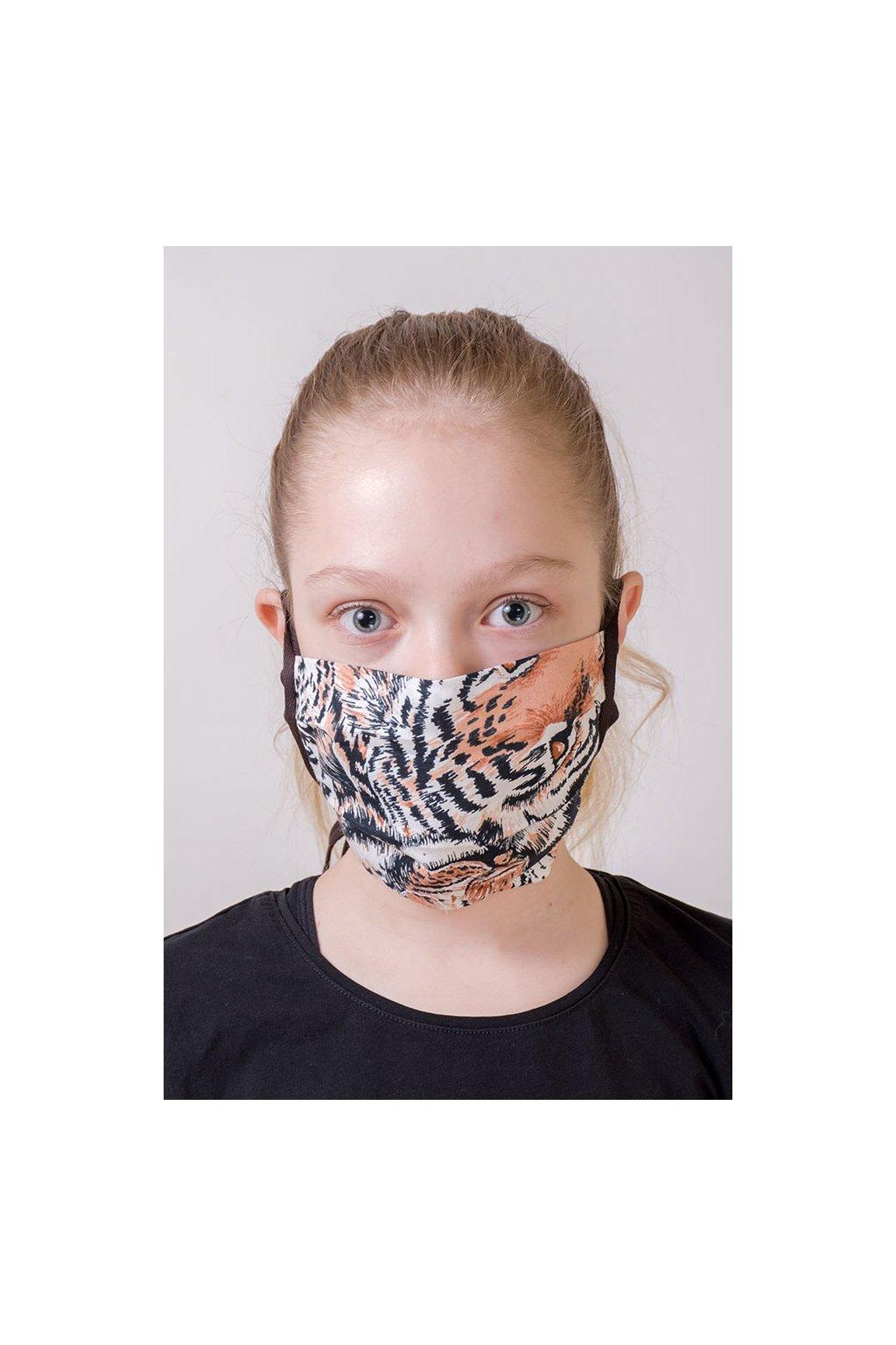 Dětská bavlněná rouška na ústa a nos dvouvrstvá skládaná s kapsou, šňůry z keprové stuhy, 787-208, Hnědá/tygr