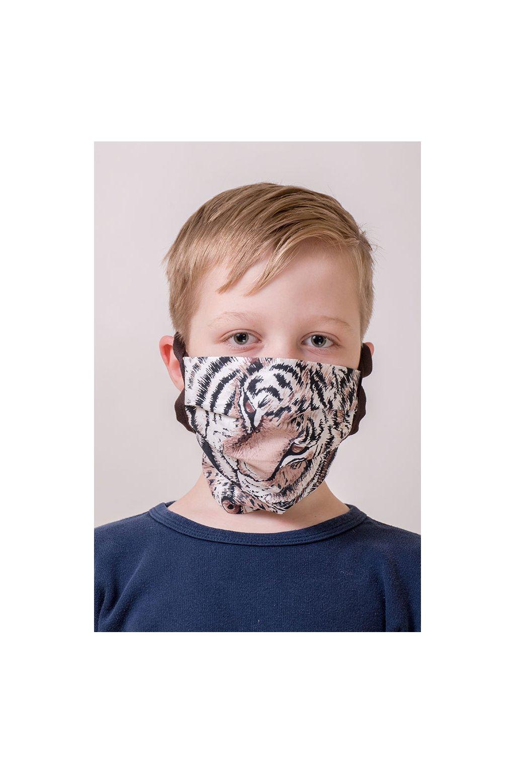 Dětská bavlněná rouška na ústa a nos dvouvrstvá skládaná s kapsou, šňůry z keprové stuhy, 787-209, Hnědá/tygr