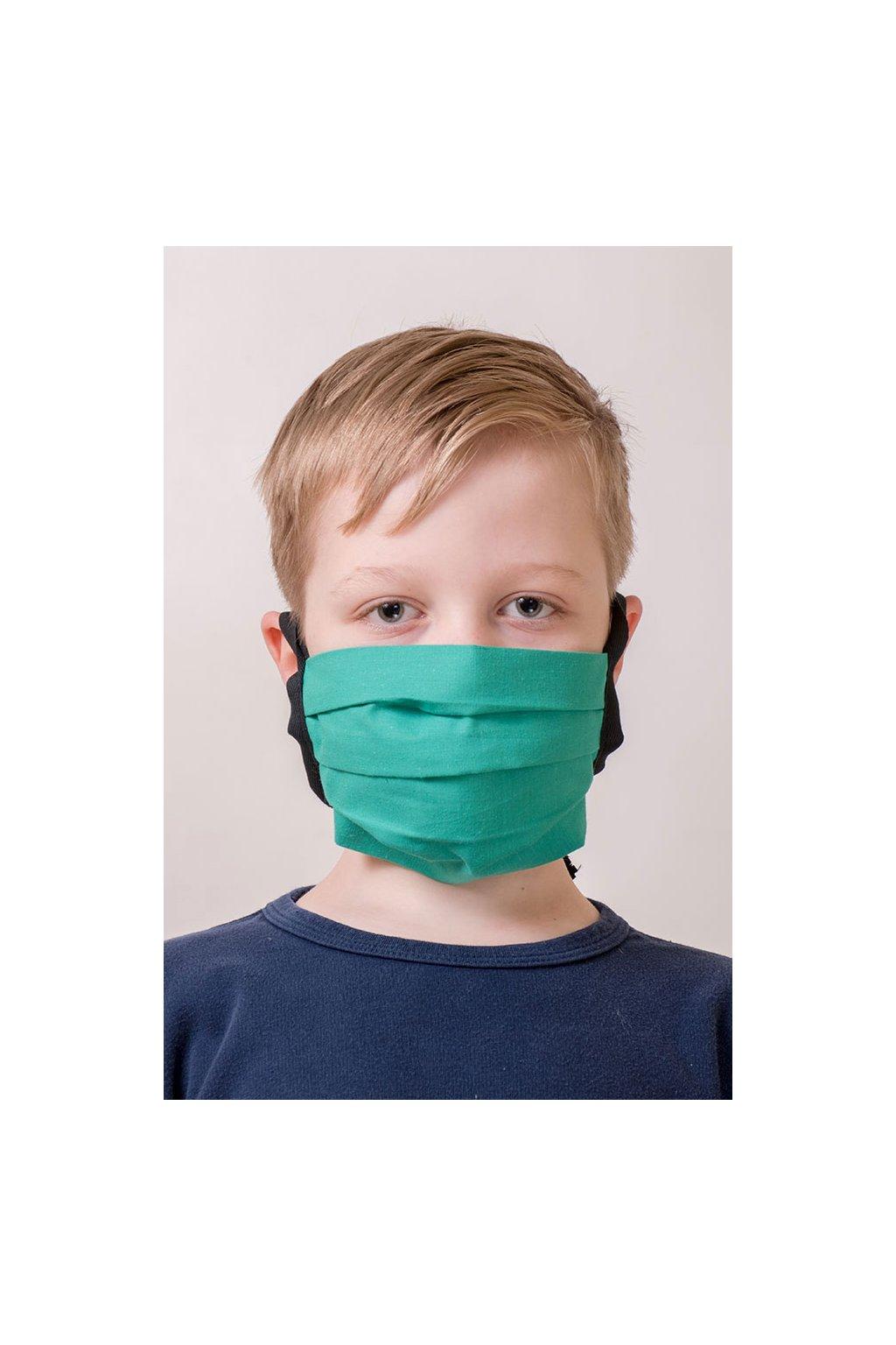 Dětská bavlněná rouška na ústa a nos dvouvrstvá skládaná s kapsou, šňůry z keprové stuhy, 787-210, Zelená