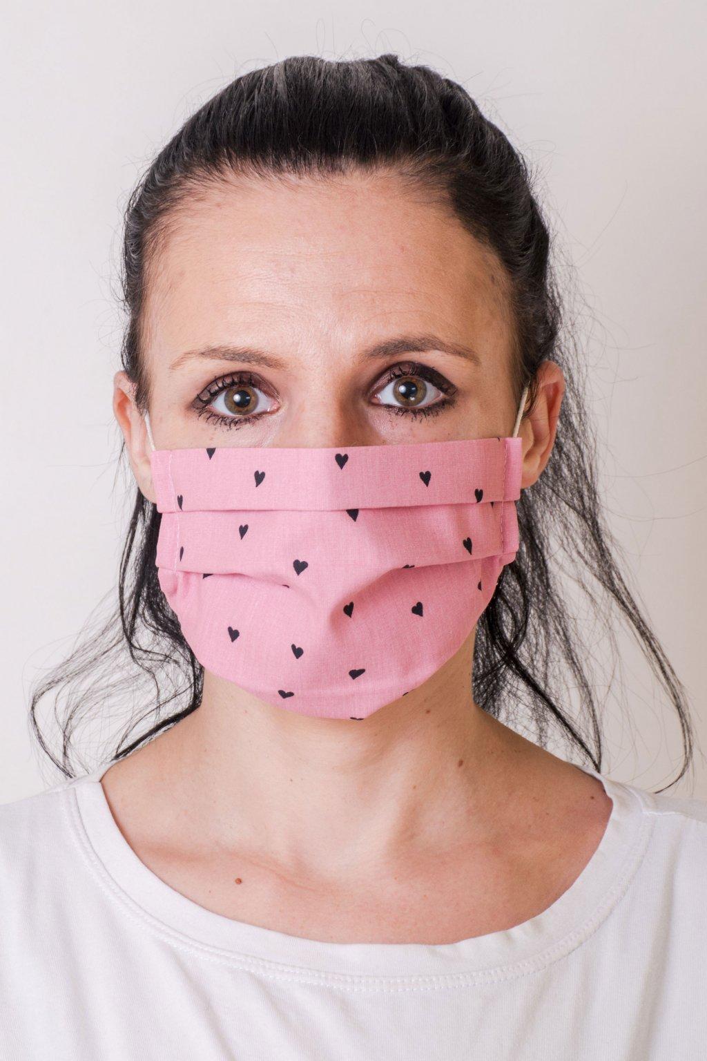 Dámská bavlněná rouška na ústa a nos dvouvrstvá skládaná s oušky z gumičky, 791-51026, Růžová