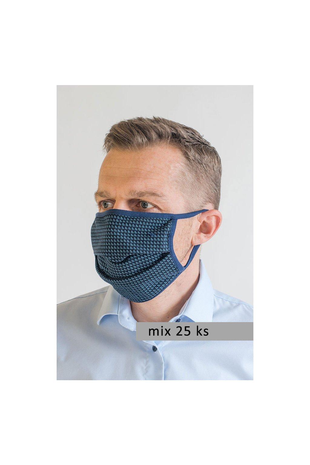 Pánská bavlněná úpletová rouška na ústa a nos dvouvrstvá model 793 - mix 25 ks, 794-99, Mix barev