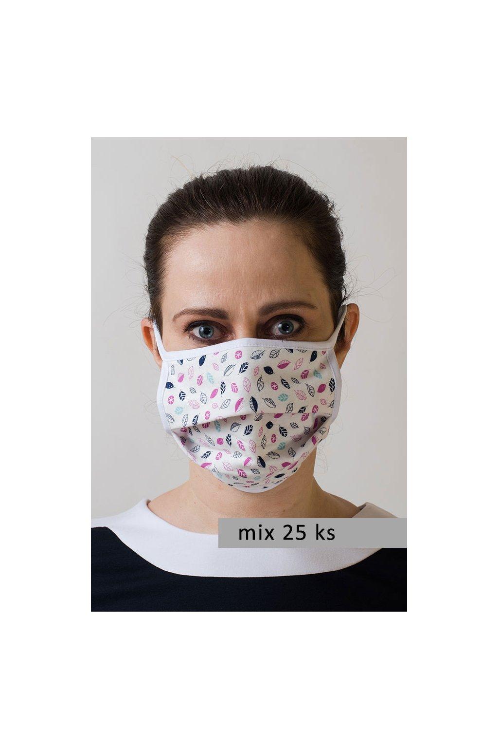 Dámská bavlněná úpletová rouška na ústa a nos dvouvrstvá model 795 - mix 25 ks, 796-99, Mix barev