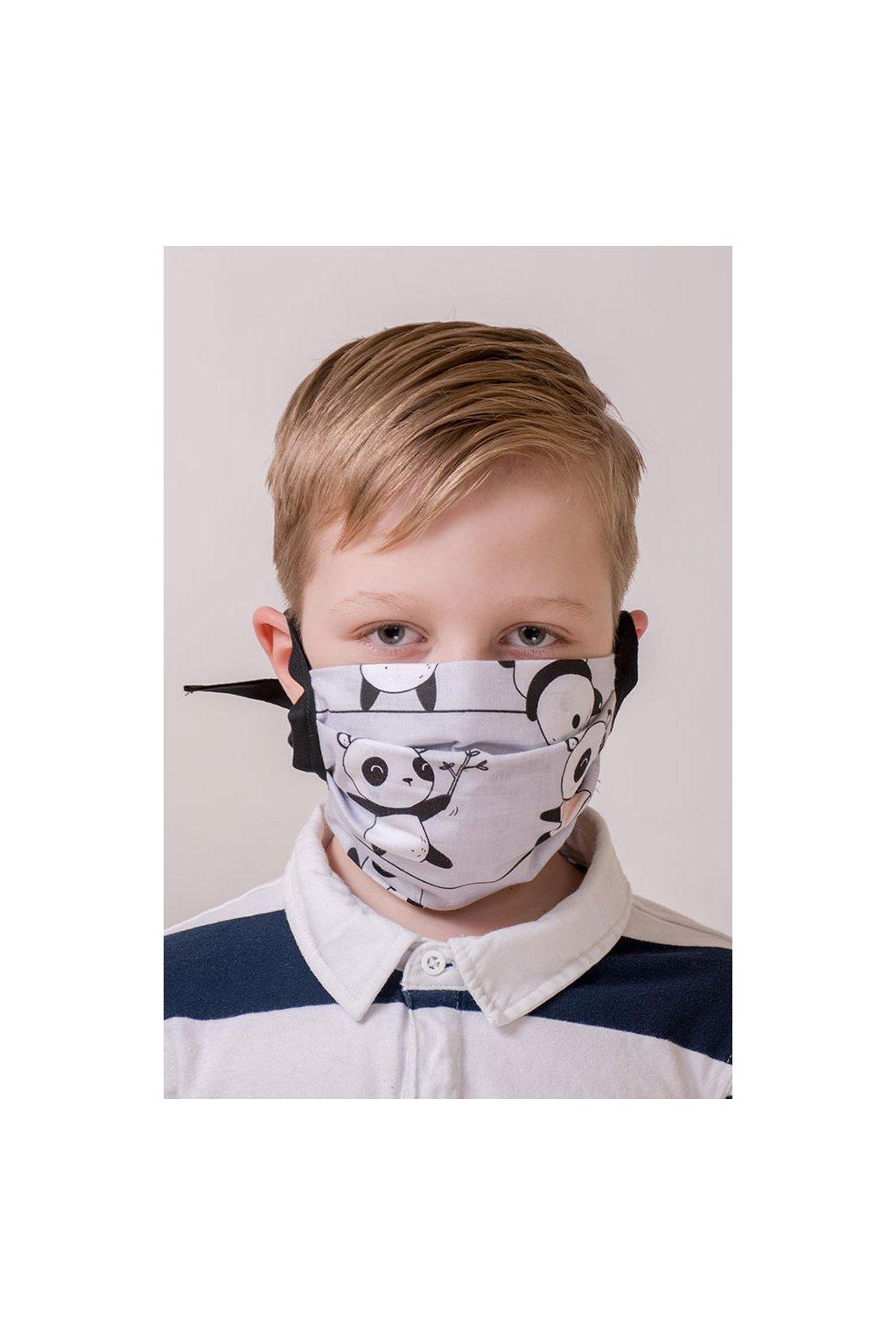 Bavlněná rouška na ústa a nos dvouvrstvá skládaná s kapsou, se šňůrami z keprové stuhy, 797-207, Šedá/panda