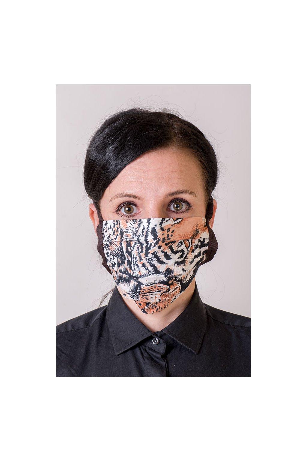 Bavlněná rouška na ústa a nos dvouvrstvá skládaná s kapsou, se šňůrami z keprové stuhy, 797-208, Hnědá/tygr