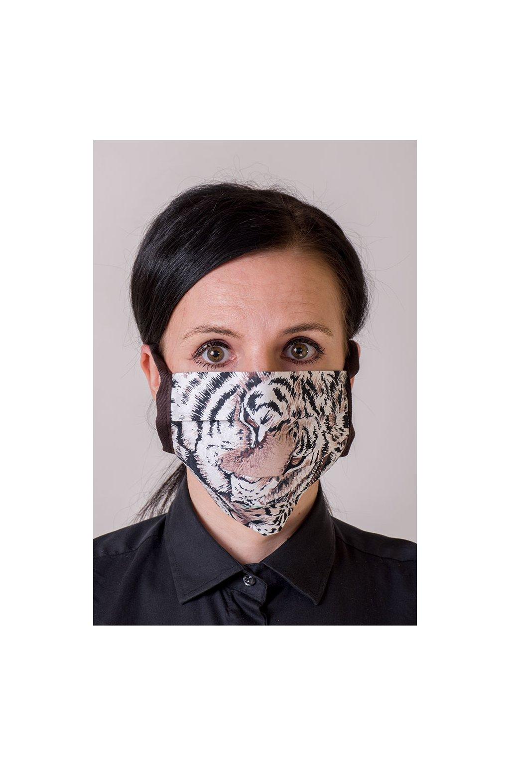 Bavlněná rouška na ústa a nos dvouvrstvá skládaná s kapsou, se šňůrami z keprové stuhy, 797-209, Hnědá/tygr