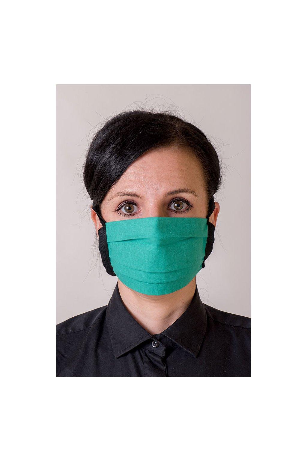 Bavlněná rouška na ústa a nos dvouvrstvá skládaná s kapsou, se šňůrami z keprové stuhy, 797-210, Zelená