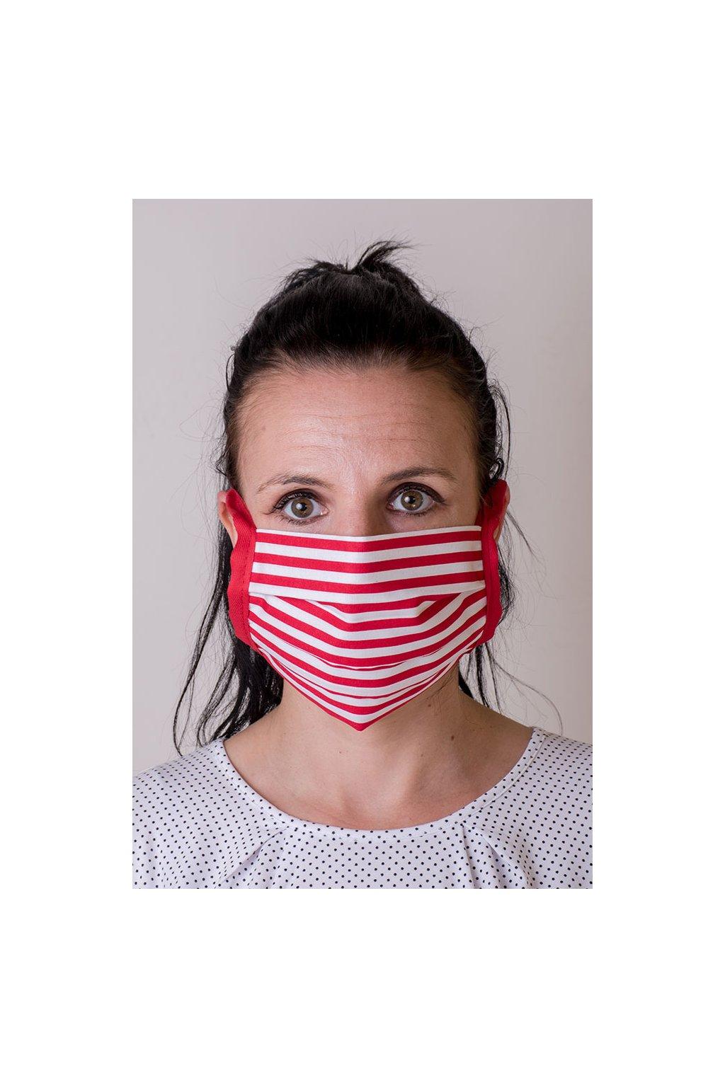 Bavlněná rouška na ústa a nos dvouvrstvá skládaná s kapsou, se šňůrami z keprové stuhy, 797-216, Bílá/červená