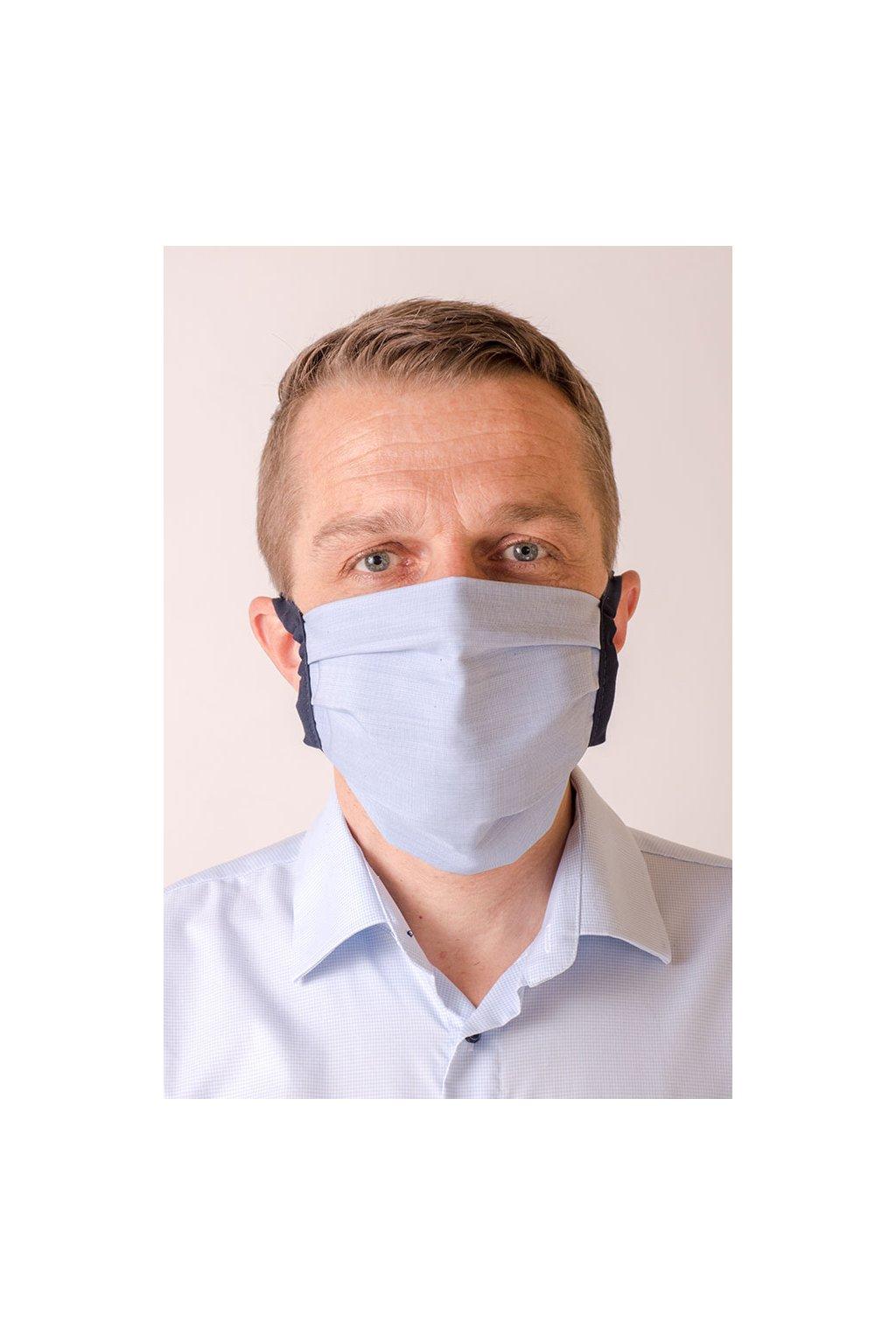 Bavlněná rouška na ústa a nos dvouvrstvá skládaná s kapsou, se šňůrami z keprové stuhy, 797-235, Modrá