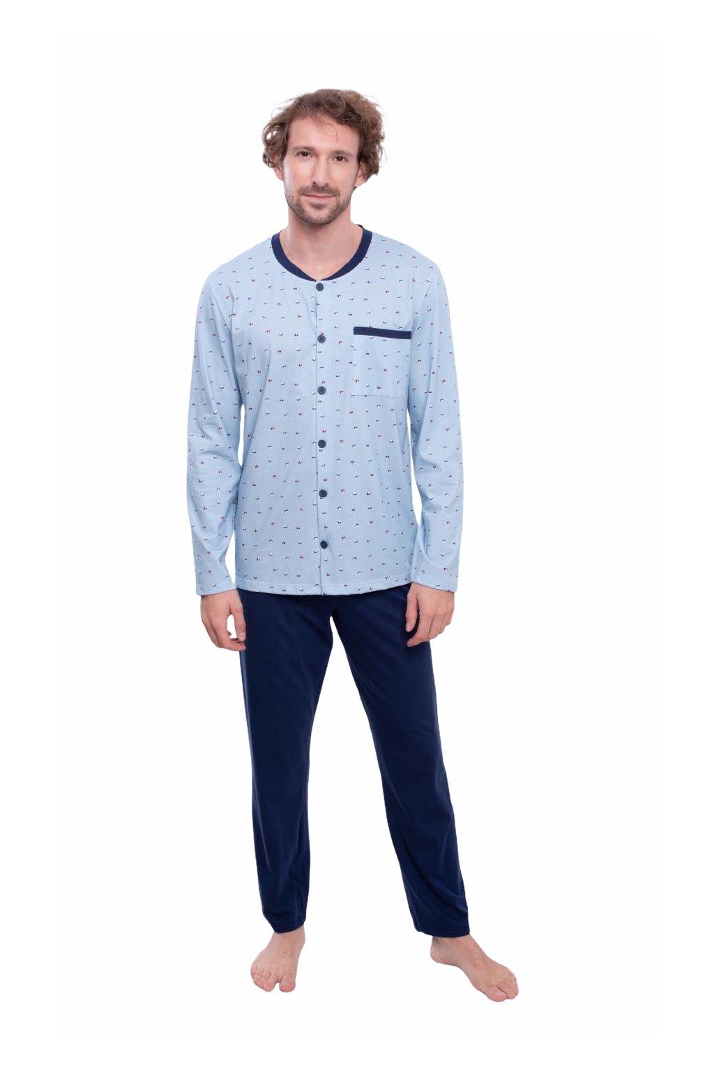 Pánské pyžamo s dlouhým rukávem, 204140 58, modrá
